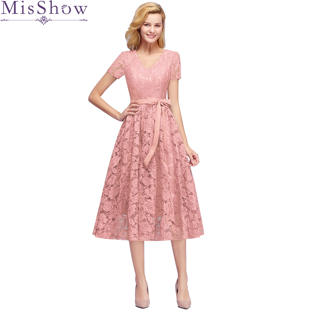 Robe demoiselle d'honneur pour femme 2019 Cut-out lace sexy V neck short sleeves A Line Dust pink   bridesmaid     dresses   with sashes