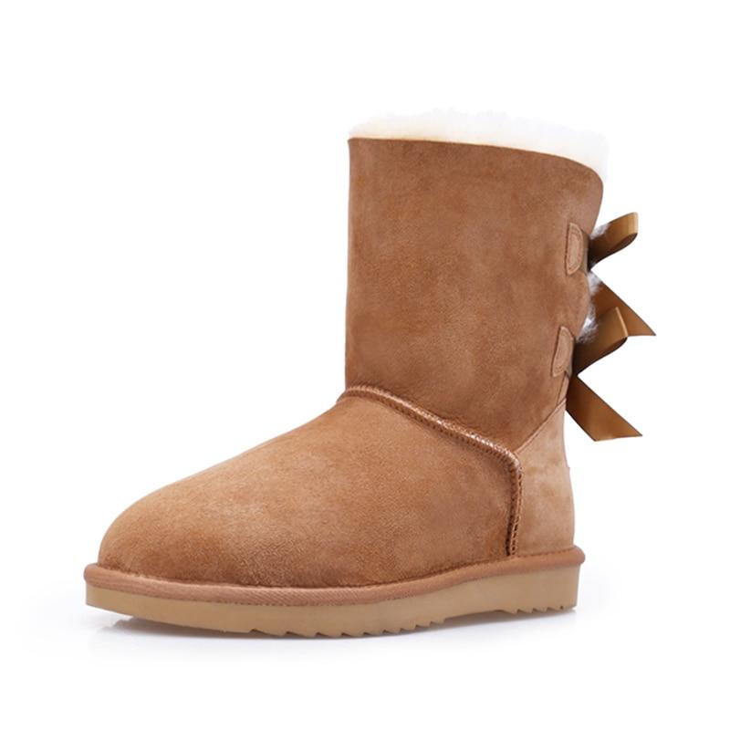 2018 ug australia women boots shoes Warm winter snow boots  Fashion Ribbon shoes Internal plush Slip-On High quality non-slip