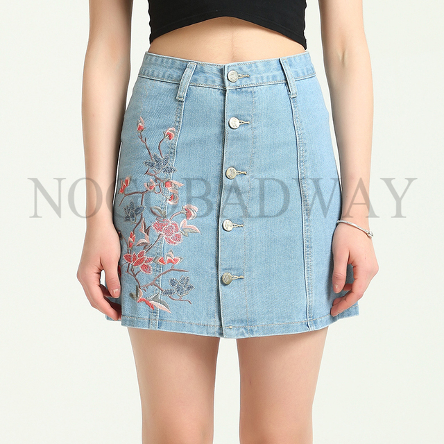 8166ca395f0 Plus Size High Waist Denim Skirts Womens 2019 Summer Style Floral  Embroidered Short Mini Jeans Skirt Button A line Casual Saia