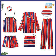 2019 new Stripe Print Shorts Woman Pajamas Set Silk Simple Female Home Wear Clothing Imitation Strap 7 Pieces Pyjamas Suit