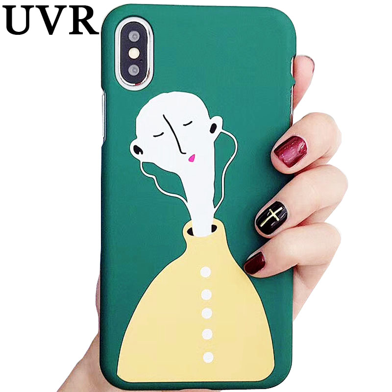 UVR Cool European Bald head girl Enjoy Listen Music Navy Painting Case Cover Funda Coque for iPhone 6 6S 7 8 Plus Carcasa Shell