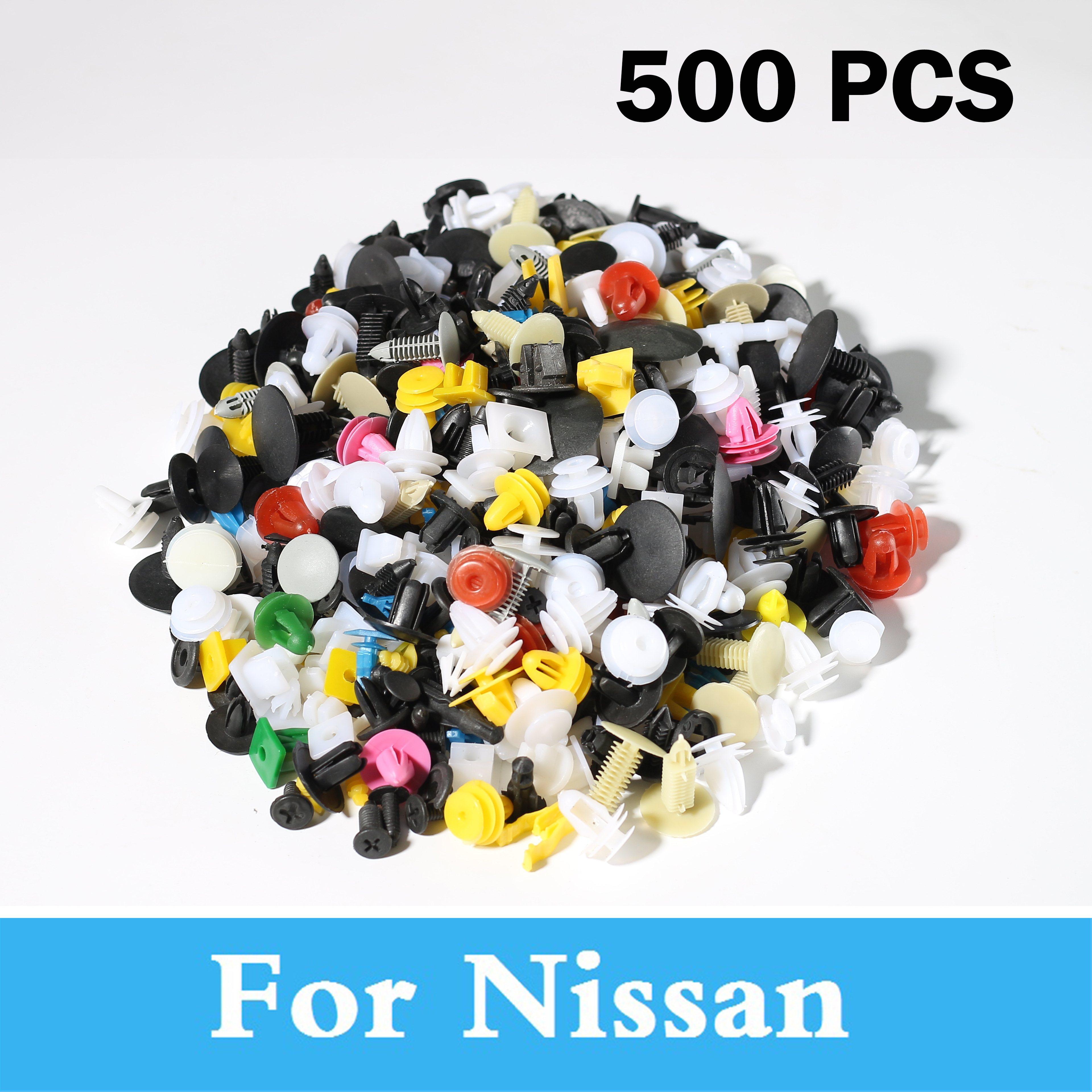 New 500pcs Car Plastic Rivets Fastener Bumper Trim Clips For Nissan Altima Armada Avenir Ad Almera Classic Juke Nismo 350z 370z