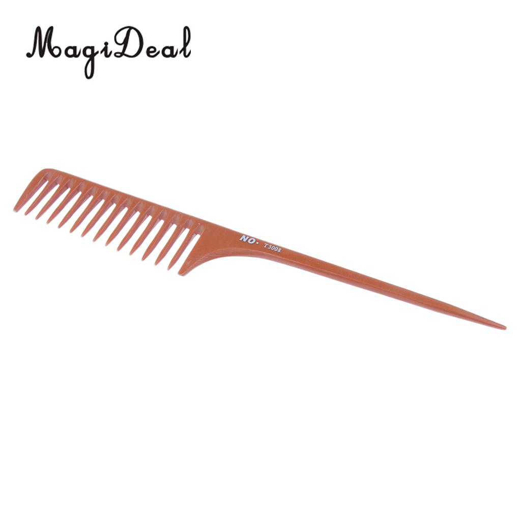 11'' Large Rat Tail Comb Wide-tooth Hair Comb with Long Handle for Hair Sectioning Teasing Detangling- Brown green sandalwood combed wooden head neck mammary gland meridian lymphatic massage comb wide teeth comb