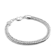 Men sterling silver bracelets, 925 silver 6 mm20cm whip hand catenary, real solid silver classic bangle bracelets for men
