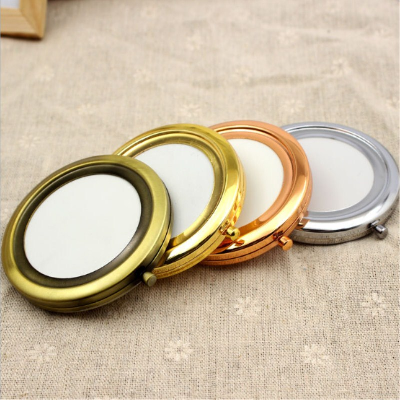 10pcs / Lot Round Blank Pocket Mirror Double sided Folding High grade Multi color Make up Mirror Portable Pocket Portable Beauty
