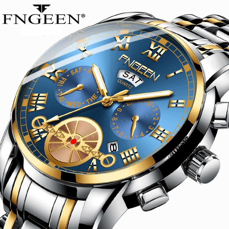 FNGEEN New Top Brand Luxury Watches Men Fashion Trend Steel Strap Wristwatch Male Waterproof Multi-function Quartz Watch 2019