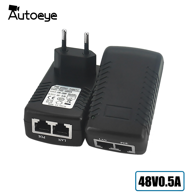Autoeye POE injector Ethernet CCTV Power Adapter 15.4W,POE pin4/5(+),7/8(-) Compatible with IEEE802.3af for CCTV IP cameras 12v 1a poe injector power 18v1a over ethernet adapter wall plug pin4 5 7 8 compatible for ip camera ip phones power supply