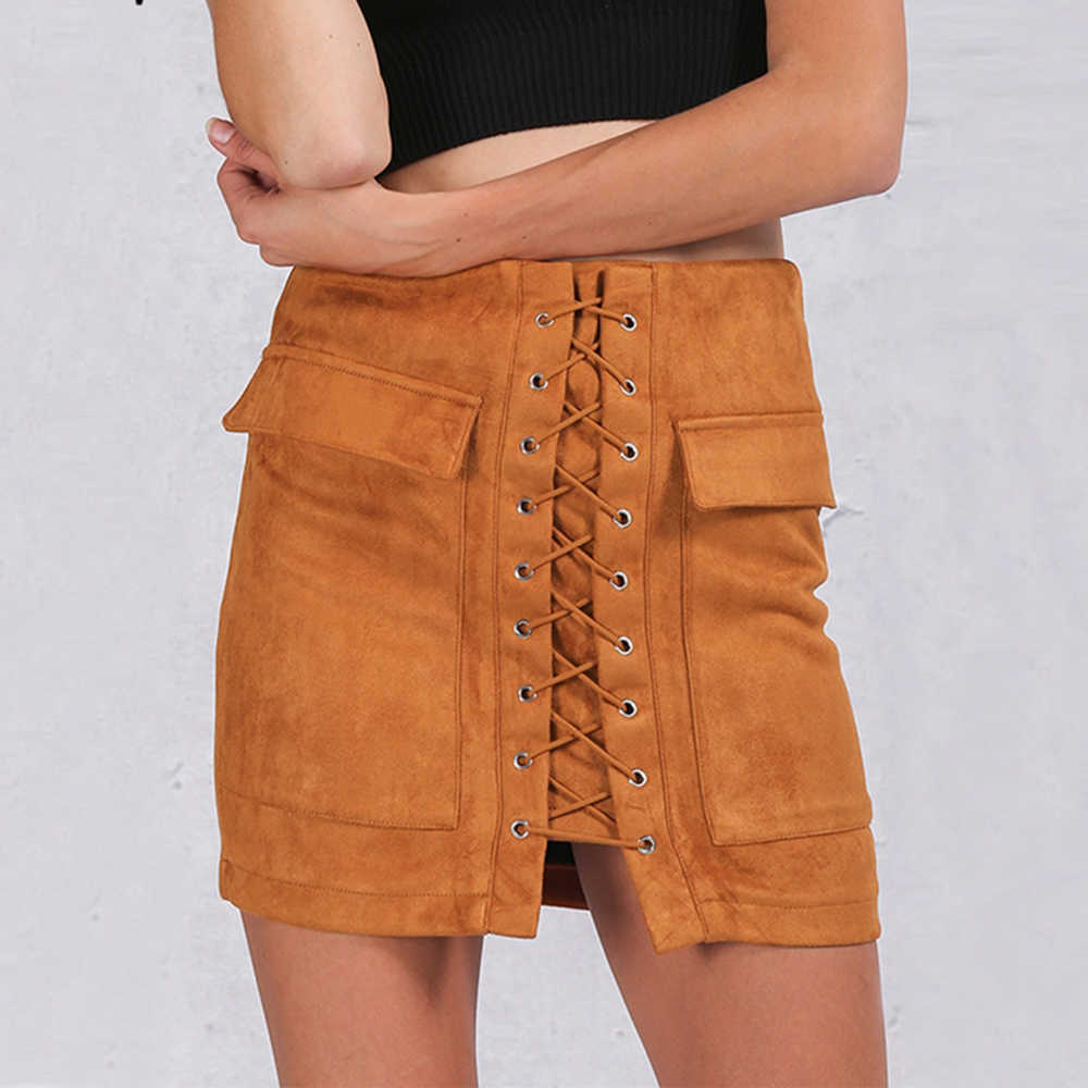 55c043b77 Simplee Apparel Autumn lace up suede leather women skirt 90's Vintage  pocket preppy short skirt Winter