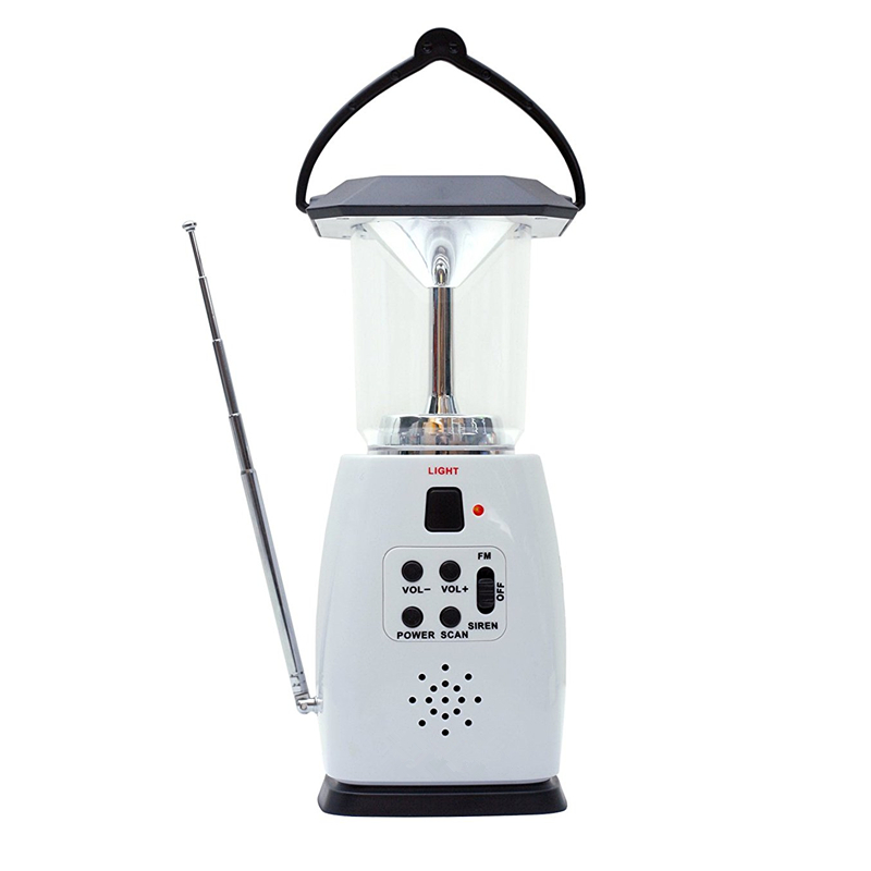 Multi-functional 4-way Powered Solar Hand Crank LED Camping Lantern with Radio and Emergency <font><b>Cell</b></font> <font><b>Phone</b></font> <font><b>Charger</b></font>