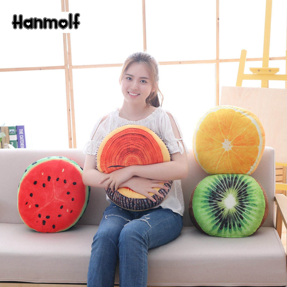 Squishy Fruits/tree Stool Plush Pillow Sofa Chair Decor Pillow Sofa Lumbar Pillow Kiwi/orange/watermelon Dia.40cm Toys & Hobbies