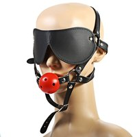 2016 New Fashion Adult Sex Fun Game Tease Restraint PU Leather Harness Eyeshade Mask Blindfold with Mouth Gag Ball For Couples