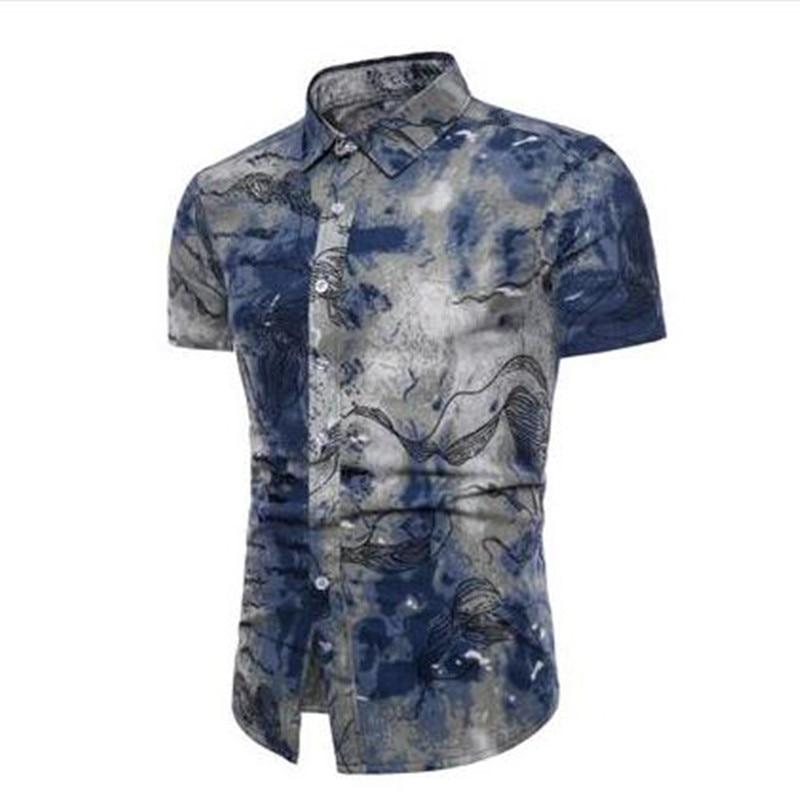 Asian Size M-5XL 2018 New Summer Large Size Men's Casual Shirts 15 Color  printing Short Sleeve Shirt Men's Slim Flower Shirt