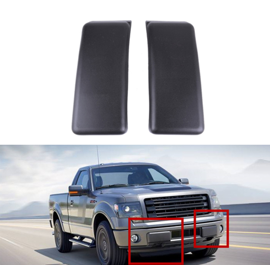 2009-2014 Ford F-150 Front Bumper Black License Plate Delete Kit Covers OEM NEW