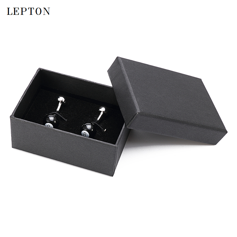 Hot Sale Black Ball of Number 8 Cufflinks For Mens Lepton Billiards Sport Round black Ball 8 design Men Shirt Cuffs Cufflinks in Tie Clips Cufflinks from Jewelry Accessories