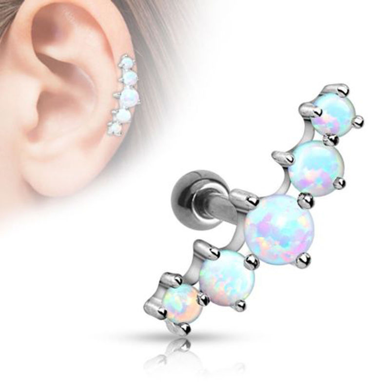 1PC Ear Cartilage Piercings Surgical Steel Barbell With Opal Stone Ear Helix Tragus Earrings 10g Body Pircing Jewelry