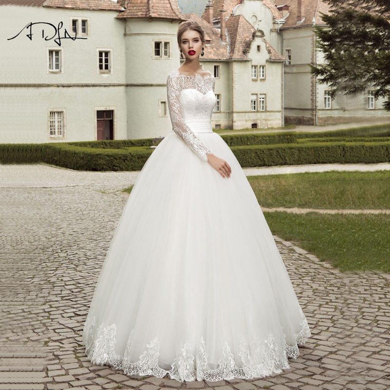 ADLN 2019 Long Sleeves Wedding Dresses Elegant Ball Gown Plus Size White Ivory Lace Bridal Gown