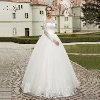 ADLN 2019 Long Sleeves Wedding Dresses Elegant Ball Gown Plus Size White/Ivory Lace Bridal Gown Customizd Vestido de Novia - DISCOUNT ITEM  35% OFF All Category