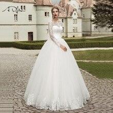 ADLN robe de mariée en dentelle blanc/ivoire, tenue de bal élégante, manches longues, personnalisable, 2020