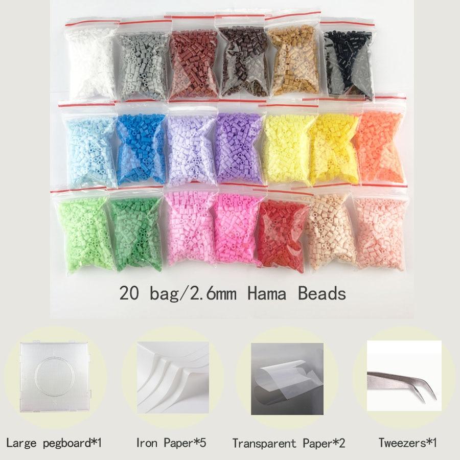 500pcs/20 Bags 2.6mm Mini Perler Hama Beads Education Kid Diy Toy Tweezer Fuse Iron Paper Kit Craft+pegboard PUPUKOU