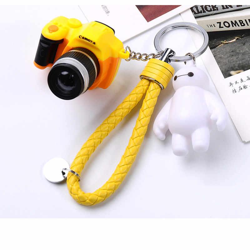 Som da câmera de luz chaveiros anéis brinquedos simulação de som lanterna chaveiro câmera mini presente PU corda branca grande anel chave