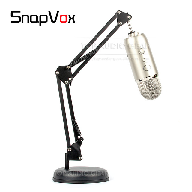 Tabletop Desktop Suspension Microphone Boom Scissor Arm Stand Mount Round Base Plate Mounting For Blue Yeti