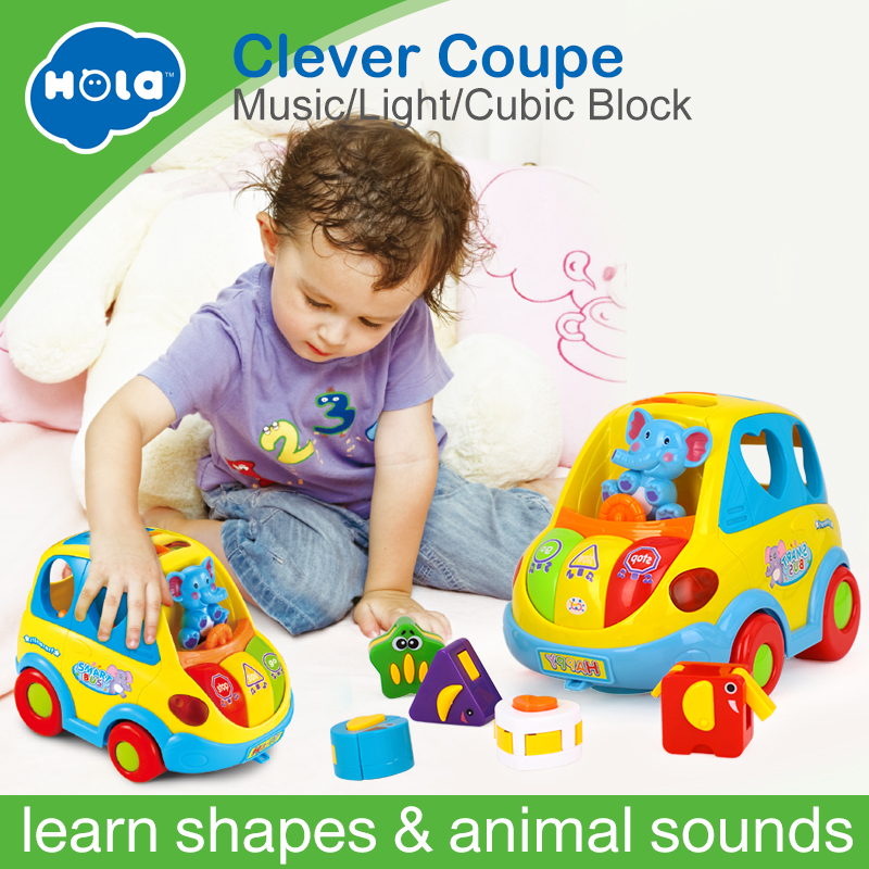 купить Baby Educational Toys Car Cartoon Child Funny Bus Playing Matching Game Toy With Music/Light/Cubic Block Kids Toy For Baby 18M+ по цене 1697.9 рублей