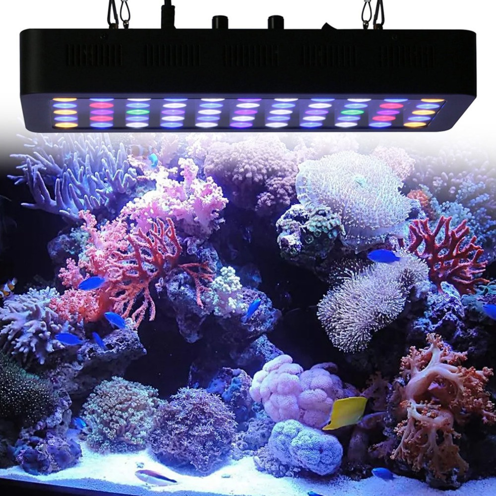 55*3W 165W Dimmable Full Spectrum LED Aquarium Light for Reef Coral & Fish Two Dimmers 2 Active Cooling Fan System