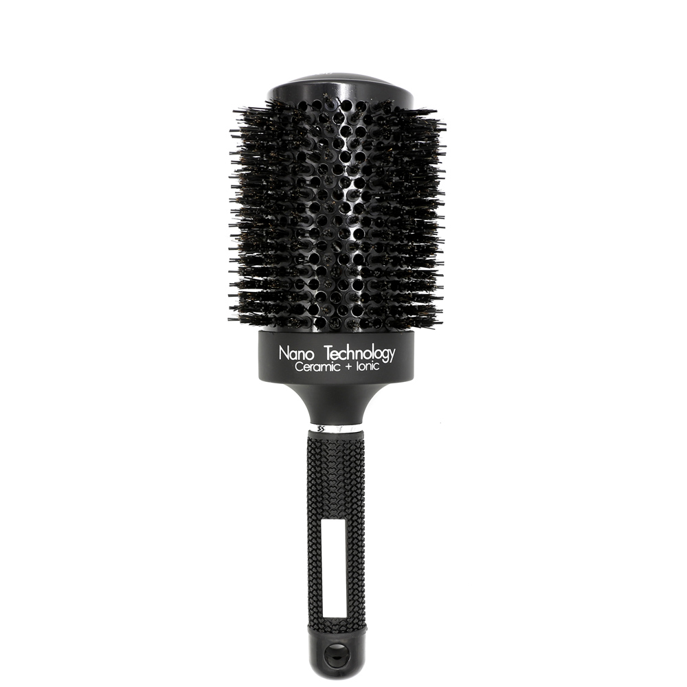 New Professional Black Boar Bristle Nano Ceramic Hair Round Brush Hairdressing Curling Brush Hair Blowing Salon Hairdresser Comb