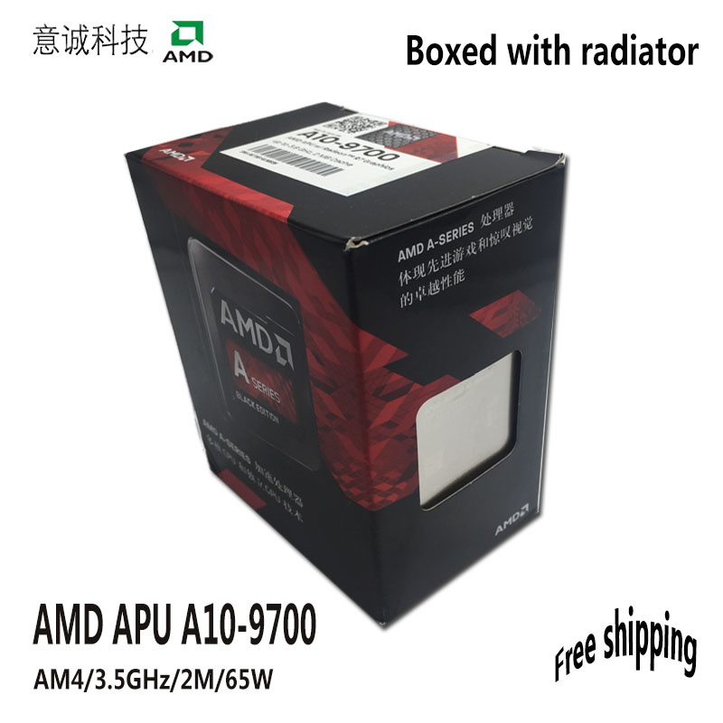 AMD APU A10 9700 CPU Processor Boxed with radiator Quad Core 3 5GHz 2MB Socket AM4