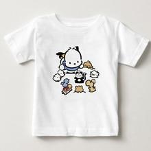 digital Cartoon printing pochacco children Pure cotton T - shirt Cute cartoon dog summer boy and girl short sleeves kids