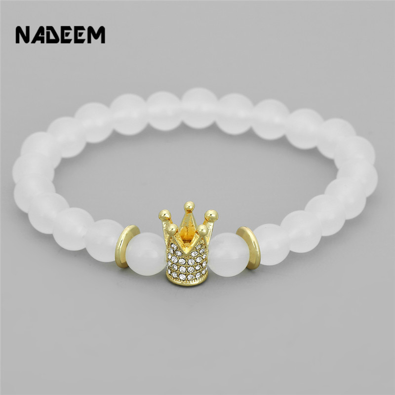 Fashion Natural 8MM White Stone Bracelet Men Gold Color Micro Pave Crystal Crown Charm Elstic Bracelets Pulseras Hombre ND2035