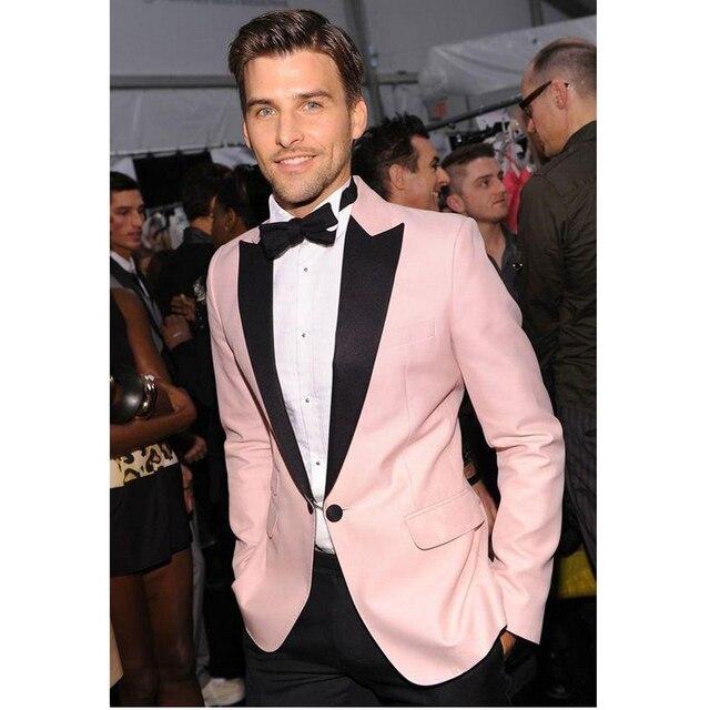 2016 Custom Made Pink Black Slim Fit Groom Tuxedos Best Man Suits Wedding Groomsman Suits
