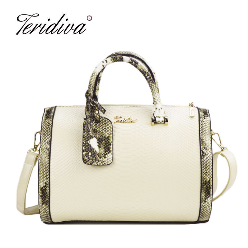 Teridiva New High Quality Luxury Messenger Designer Bag Women Shoulder Bags Ladies Serpentine Tote Bag Patchwork Boston Handbags new mini luxury tiger head 3d relief designer alligator serpentine women handbags shoulder leather bags tote bag
