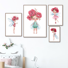 Rose Flower Fairy Elf Angel Wall Art Canvas Painting Nordic Posters And Prints Pictures For Baby Girl Room Kids Decor