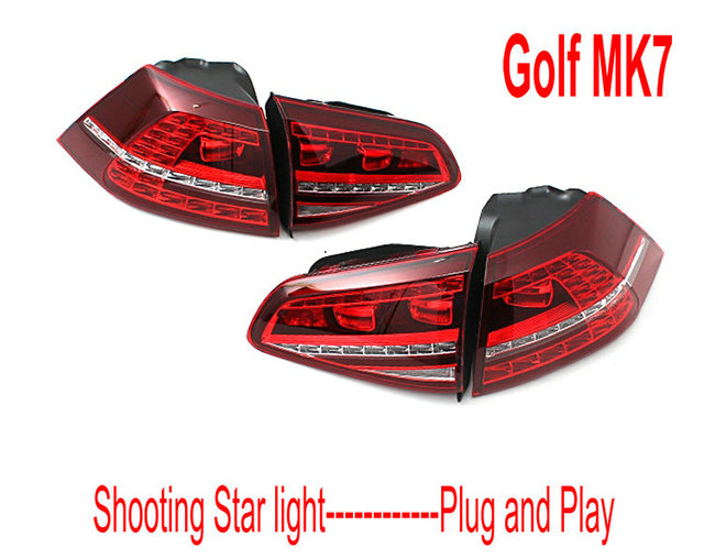 longate golf mk7 gti 7 led tail lights with dynamic amber turn signals sequential blinking fit. Black Bedroom Furniture Sets. Home Design Ideas