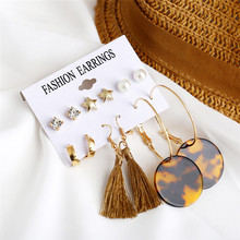TTLIFE Fashion Gold Color Star Stud Earrings Pearl Acrylic Leopard Womens Jewelry Tassel Mixed Suit 6 pairs /set Set