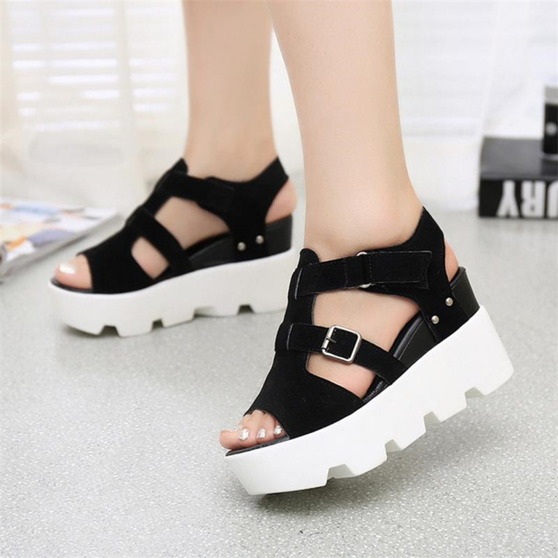 2018 spring summer thick-bottomed fish mouth shoes female high slope with sandals waterproof platform muffins student high s143