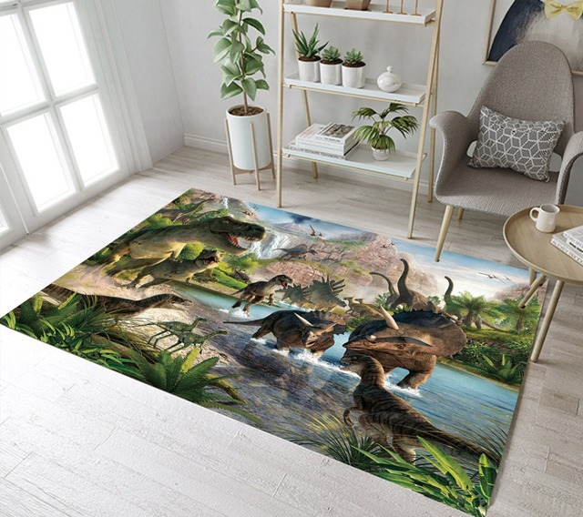 Kids Dinosaur Rugs And Primitive Forest Carpets For Baby Home Living