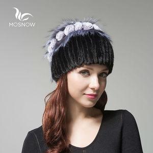 Image 4 - Womens Genuine Mink Fur Hat Female Winter Rex Rabbit Rose Flower Elegant Luxury 2019 Warm Knitted Hats Skullies Beanies