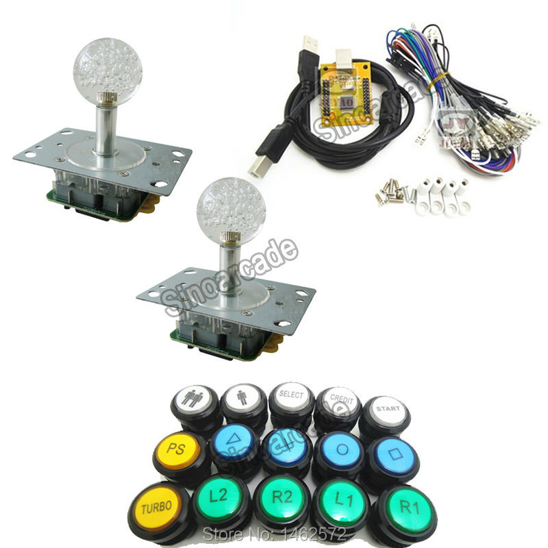 1 kit of 5V LIGHTING 2 players PC PS 3 2 IN 1 Arcade to USB controller 2 player MAME Multicade Keyboard Encoder, USB to Jamma arcade mame diy kit for 2 players pc ps 3 2 in 1 to joystck led button with icons interface usb 2 player mame interface