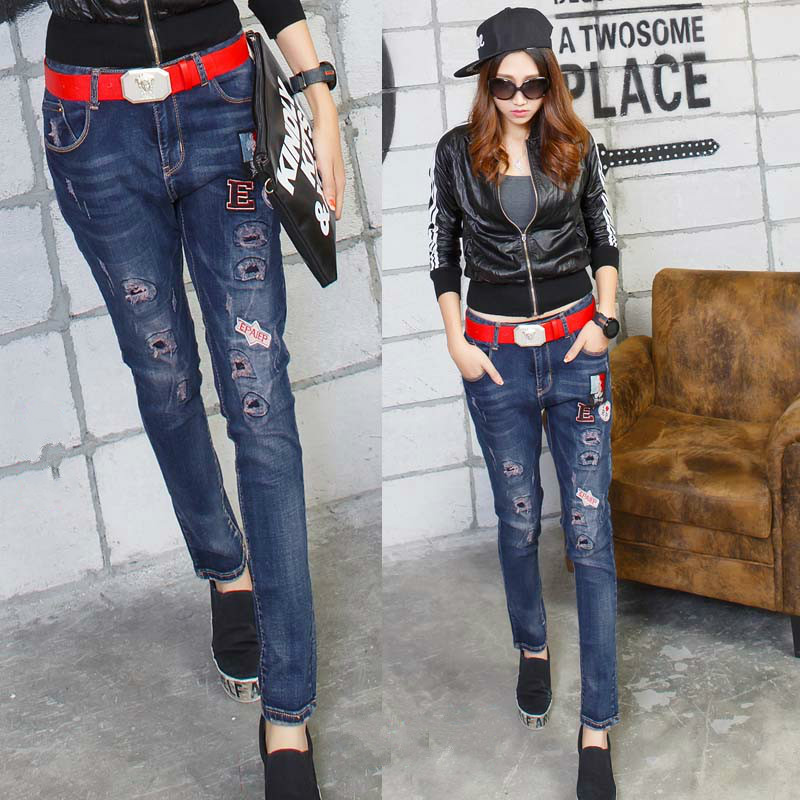 2016 patch denim harem pants jeans woman vaqueros mujer pantalon femme Has elasticity jeans with embroidery