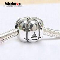 Authentic 925 Sterling Silver Giáng Sinh Bí Ngô Chủ Đề Hole Charm Bead Fit Châu Âu Bracelet Trang Sức