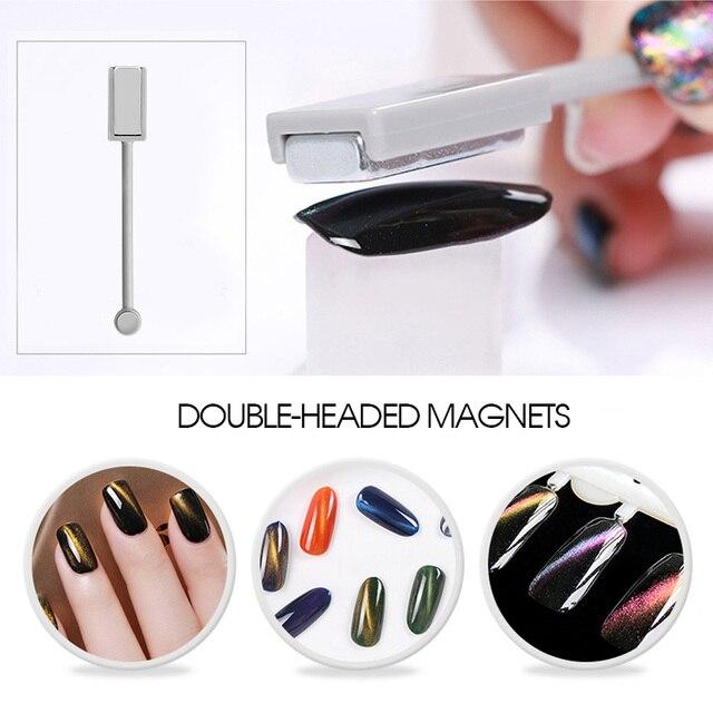 Vrenmol Double headed Magnetic Nail Art Sticker Cat Eye Manicure UV ...