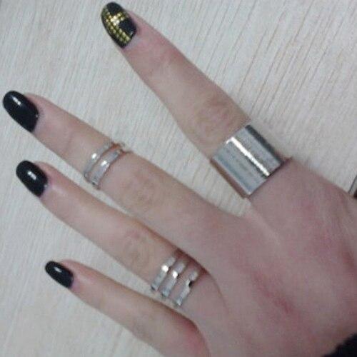 Блестящее качество 3 шт. 1 компл. Топ пальцем по Midi кончик пальца выше костяшки Открытое кольцо для для женщин 5cru