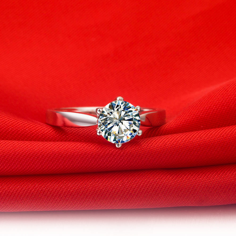Threeman Solid 18kt White Gold Brand Ring 1ct Synthetic Diamonds