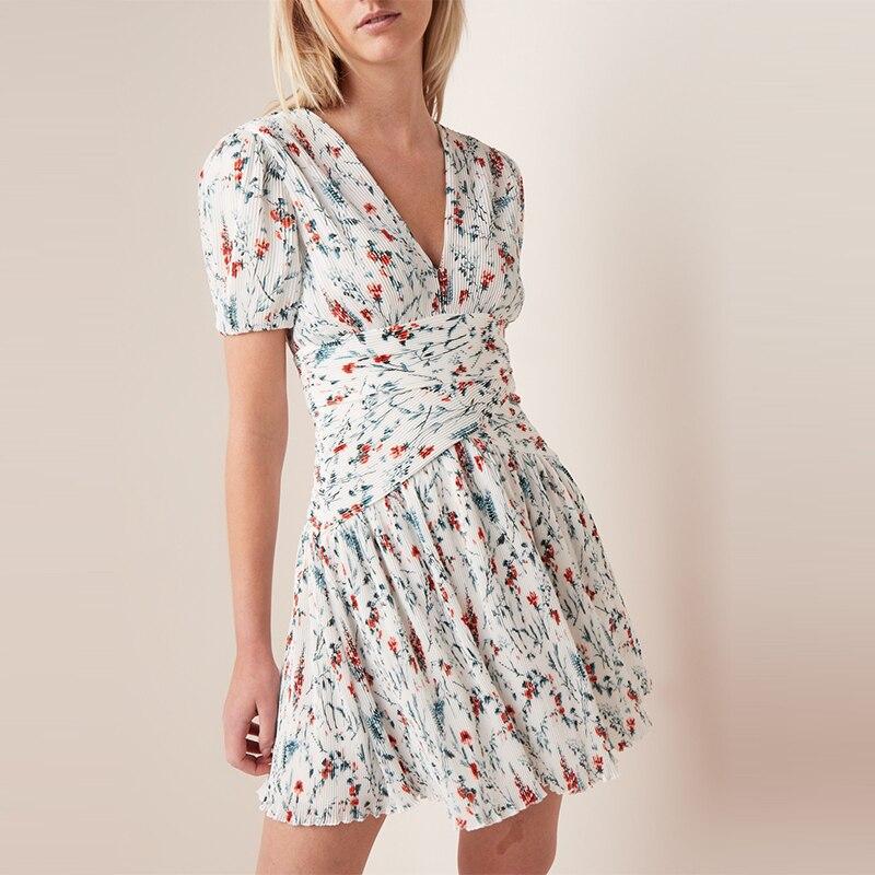 2019 New Women Flower Print Slim Mini Dress Short Sleeve V Neck Pleated Sweet Dress