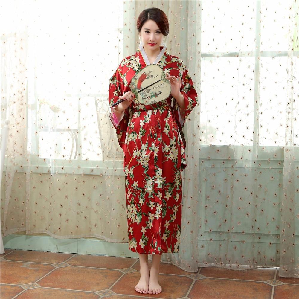 Floral Japanese Female Kimono Yukata Gown Women's Traditional Satin Bathrobe With Obi Performance Dance Dress Cosplay Clothing