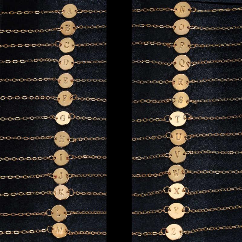Moda złoty kolor 26 list bransoletka i bransoletka dla kobiet proste regulowane nazwa bransoletki Pulseras Mujer biżuteria Party prezent