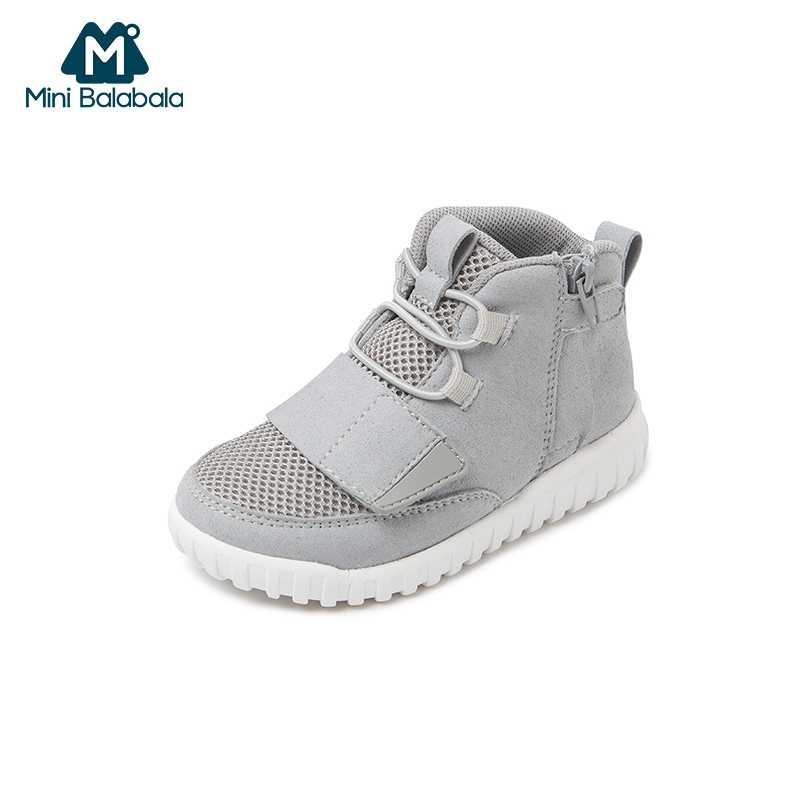 מיני Balabala ילדים לנשימה היי למעלה סניקרס פעוטות בני קל משקל סתיו רשת ריצה נעלי ספורט הנעלה ללא לדלג עיצוב