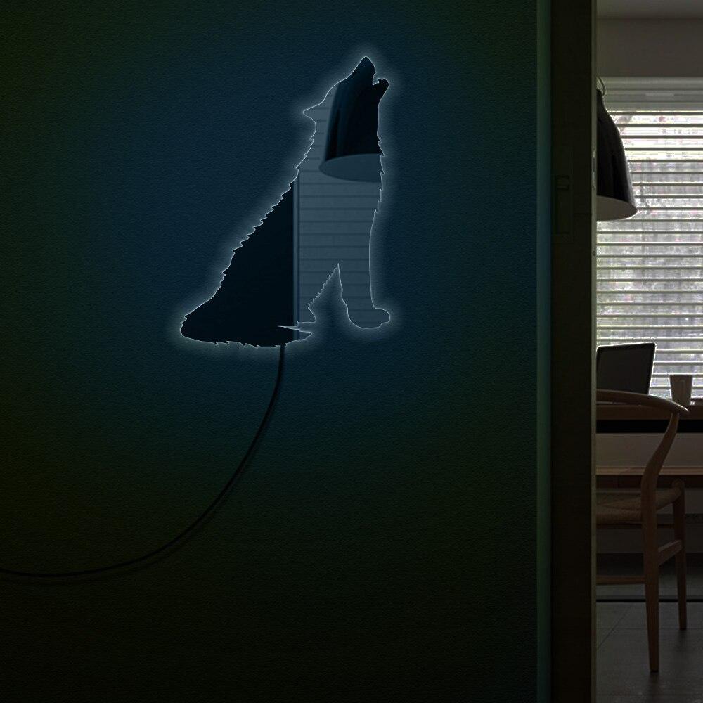 Forêt loup hurlant décoratif acrylique mur miroir loup Totem Tribal Animal lumineux mur miroir loup amoureux homme Cave chambre décor